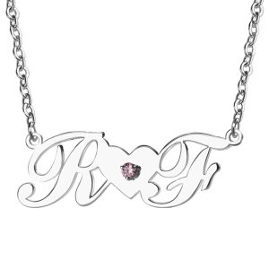 Aesthetic Sterling Silver Double Initials Lovers Necklace with Birthstone