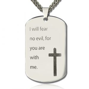Appealing Titanium Steel Man's Dog Tag Cross Nameplate Necklace