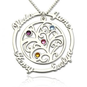 Attractive Silver Birthstone Family Tree Necklace with Names for Mothers11