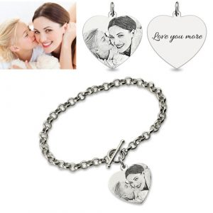 Awesome Custom Heart Charm Photo Engraved Bracelet In Sterling Silver