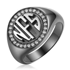 Classic Personalized Circle Monogram CZ Ring Black plated