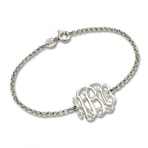 Clear-cut Texture Bracelet-Custom Sterling Silver Monogram Bracelet for Him/Her