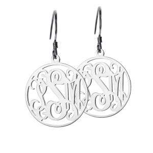 Dainty Circle Monogrammed Initial Earrings Sterling Silver