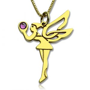 Delicate Fairy Birthstone Necklace for Girlfriend Gold Plated Silver 925