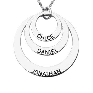 Enigmatical Exterior Engraved Sterling Silver 3 Names Disc Necklace for Mothers