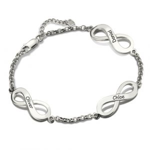 Exquisite Personalized Sterling Silver Triple Infinity Name Bracelet