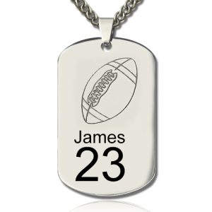 Good-Looking Titanium Steel Man's Dog Tag Rugby Name Necklace
