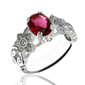 Gorgeous Birthstone Engraved Mantilla Oval Name Silver Ring