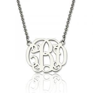Gorgeous Personalized Small Celebrity Monogram Necklace In Sterling Silver