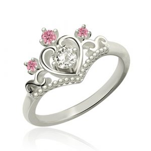 Incomparable Princess Tiara Birthstone Platinum Plated Ring