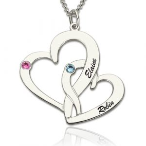 Incredible quality Interlocking Two-Heart Necklace with Names & Birthstones