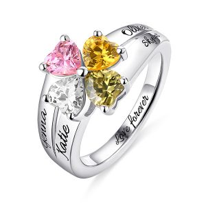 Ingenious Engraved Mother's Love and Luck Birthstones Ring Sterling Sliver