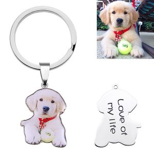 Lovely Engraved Pet Color Photo Keychain