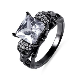Marvelous Skull Ring With Square Birthstones In Black Plated Silver