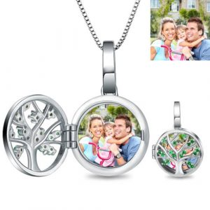 Meaningful Engraved Unique Family Tree Photo Locket Sterling Sliver