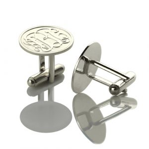 Noble Engraved Cufflinks with Monogram Sterling Silver