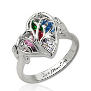 Personalized Family Tree Heart Cage Ring With Heart Birthstones Platinum