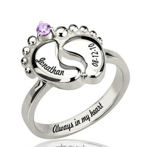 Platinum Plated Fancy Engraved Baby Feet Ring with Birthstone