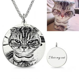 Rakish Personalized Cat Pet Photo Engraved Sterling Silver Necklace