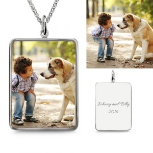 Rectangle Engraved Epoxy Kid & Dog Photography classical Necklace