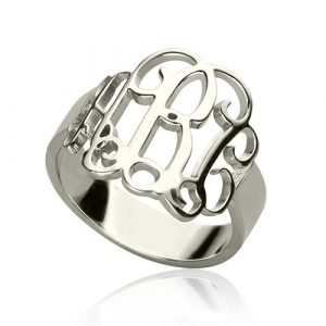 Romantic Personalized Sterling Silver Monogram Ring Hand-drawn Font