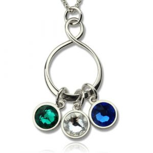 Selected Personalized Infinity Birthstone Charm Necklace