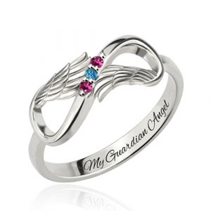 Silver Engraved Angel Wings Infinity fancy Ring with Birthstones