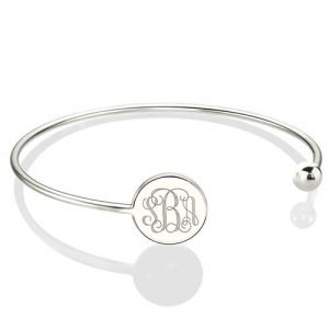 Simple Appearance Disc Monogram Adjustable Bangle Bracelet Sterling Silver