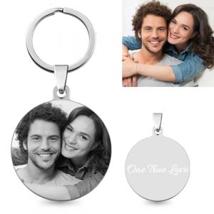Solid Engraved Titanium Steel Round Custom Photo Keychain