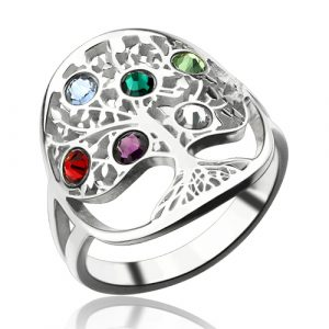 Sterling Silver Classical Birthstones Family Tree Ring