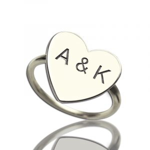 Sterling Silver Elegant Engraved Sweetheart with Double Initials Ring