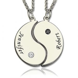 Superb and Engraved Best Friends BFF Yin Yang Necklaces Set of 2