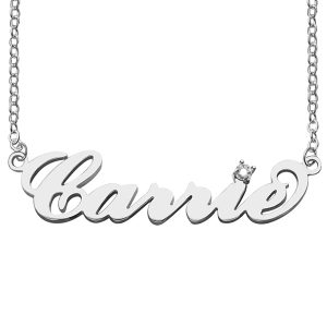 Superior Sterling Silver Carrie Name Necklace with Birthstone