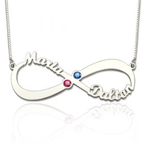 Unapproachable 2 Names & Birthstones Infinity Love Necklace Sterling Silver