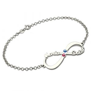 Unequalled Personalized Infinity Name Birthstone Bracelet Sterling Silver
