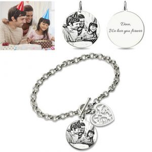 Unique Engraved Photo Charm Bracelet For Mothers Sterling Silver