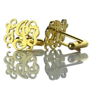 Well-chosen Monogrammed Cuff links Cut Out Initials 18k Gold Plated