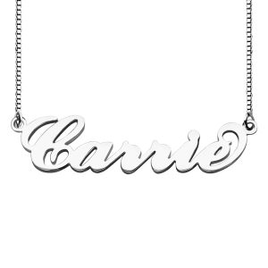 Wonderful Personalized Box Chain Carrie Name Necklace Silver